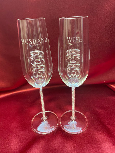 2020 Husband & Wife Custom Engraved Champagne Flute Set