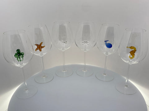 The Shark Wine Glass™ Ocean Collection Crystal - Includes the Octopus, Sea Horse, Starfish, Sea Turtle, Baby Shark, and Whale Inside Beautiful Gift Boxes