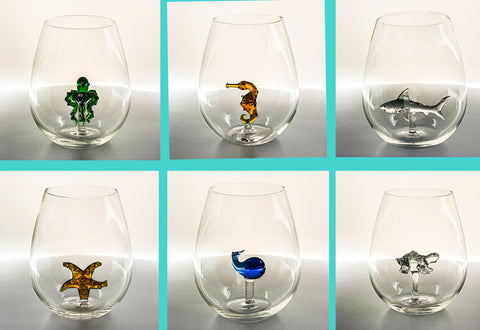 The Stemless Shark Wine Glass™ Ocean Collection Crystal - Includes the Octopus, Sea Horse, Starfish, Sea Turtle, Baby Shark, and Whale