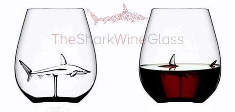 The 3D Stemless Shark Wine Glass™ Crystal Lead-free Ships Today - Featured On Delish.com, Housebeautiful.com & People Magazine/people.com