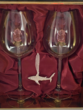 The Swarovski™ Shark Ornament with Two Rose Wine Glasses™ in Beautiful LED Enhanced Gift Box