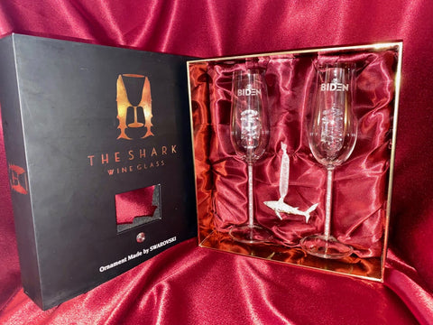 Limited Edition - Swarovski™ Shark Ornament w Two 2020 Biden Champagne Flutes™ in a Beautiful LED Gift Box