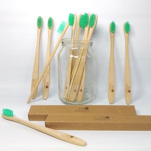 12 Bamboo toothbrushes pack - Biodegradable