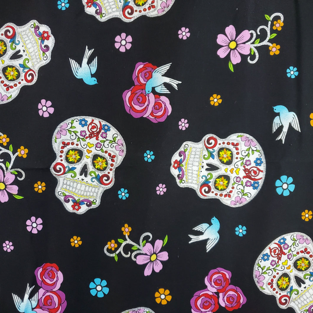 Black Sugar Skulls Print Washable Fabric Face Mask with Filter Layer