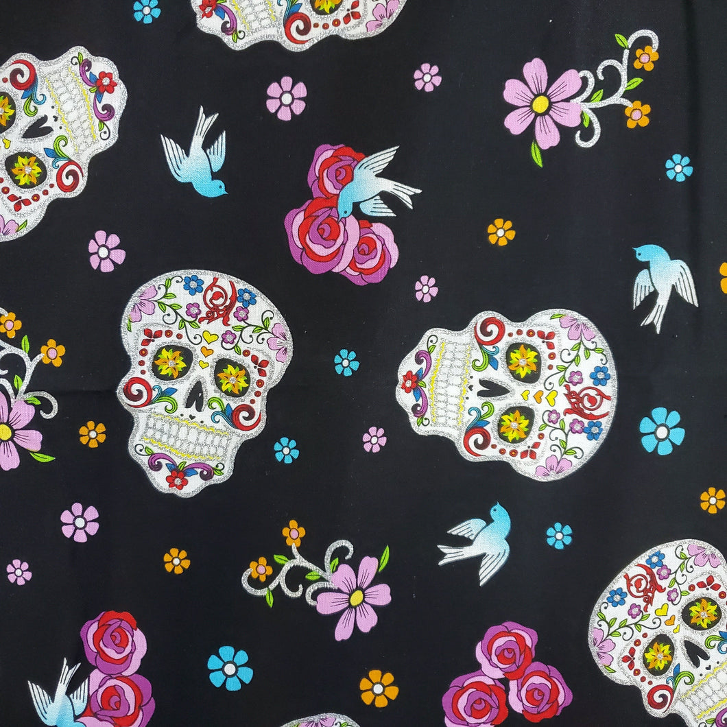 Kids Sugar Skull Print Cotton Pleated Washable Face Mask with Filter Layer