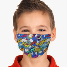 Load image into Gallery viewer, Kids Comic Superhero Wow Fitted Face Mask