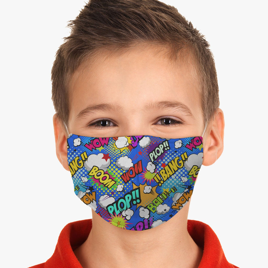 Kids Comic Superhero Wow Fitted Face Mask