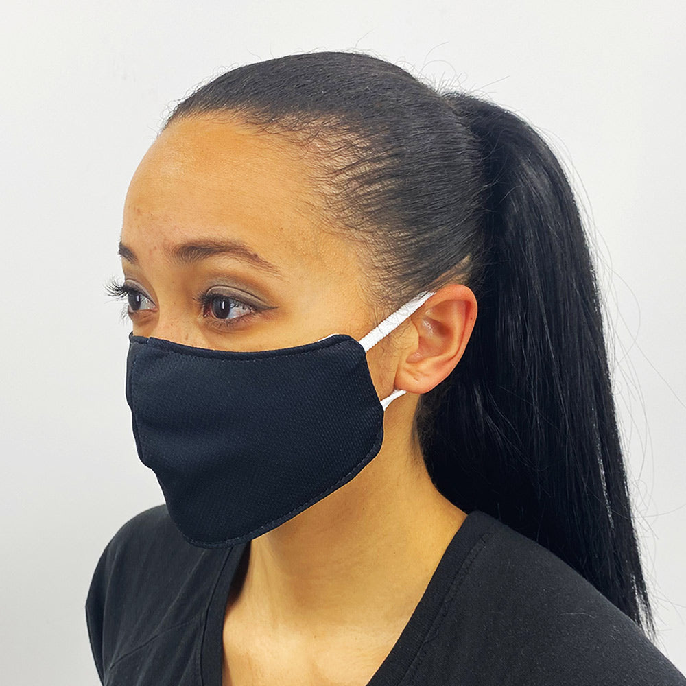 Solid Black Fitted Face Mask