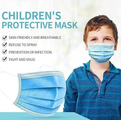 Children's 3 Ply Disposable Face Mask, Blue, Pack of 50
