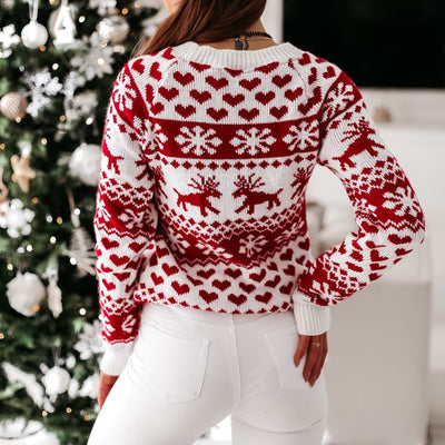 Christmas Reindeer Heart Sweater