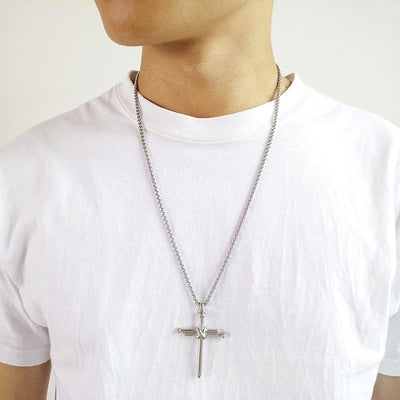 Steel Nail Cross Necklace