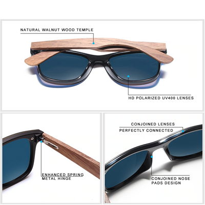 Enrico Polarized Wooden Sunglasses