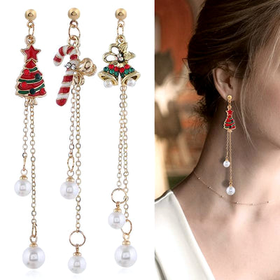 Christmas Pearl Drop Earrings
