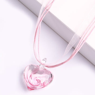 Rose Glass Heart Necklace