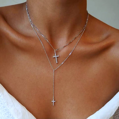 Double Crystal Cross Necklace