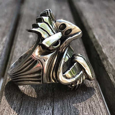 Ancient Steel Tiki Ring