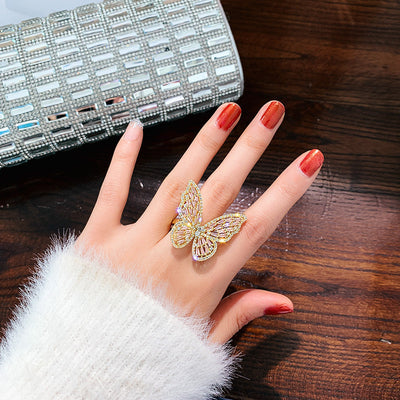 Luna Crystal Butterfly Ring