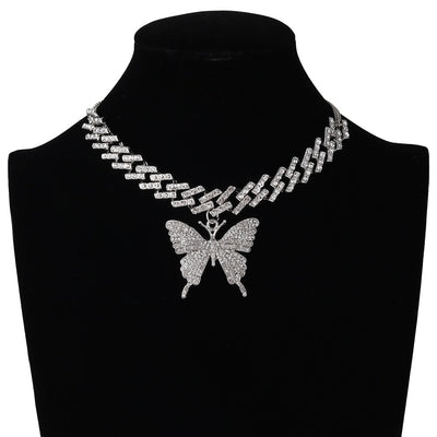 Iced Butterfly Chain Necklace