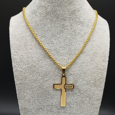 Steel Jesus Cross Necklace