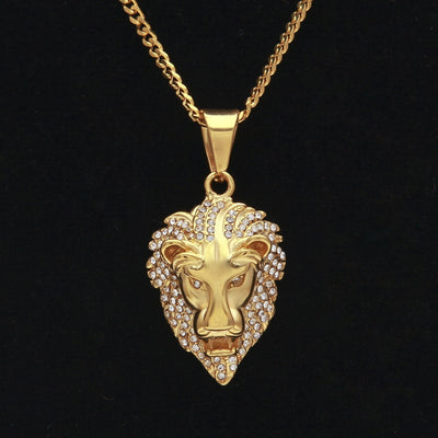 Iced Lion Pendant Necklace