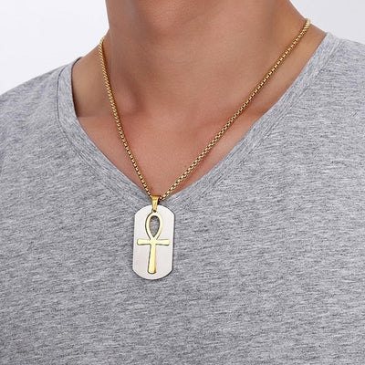 Egyptian Cross Tag Necklace