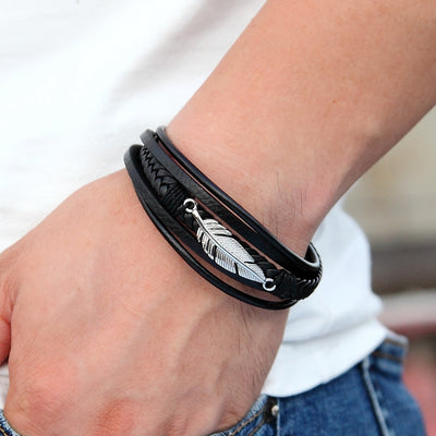 Stainless Steel Feather Bracelet