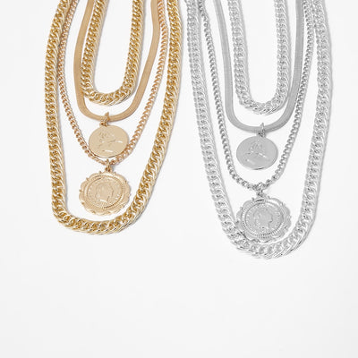 Amelia Multirow Coin Necklace