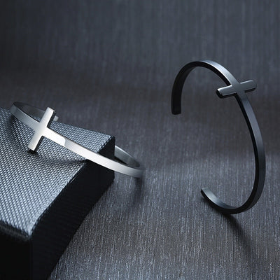 Steel Cross Cuff Bracelet