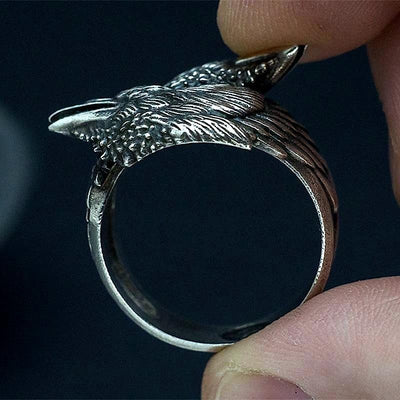 Steel Twin Raven Ring
