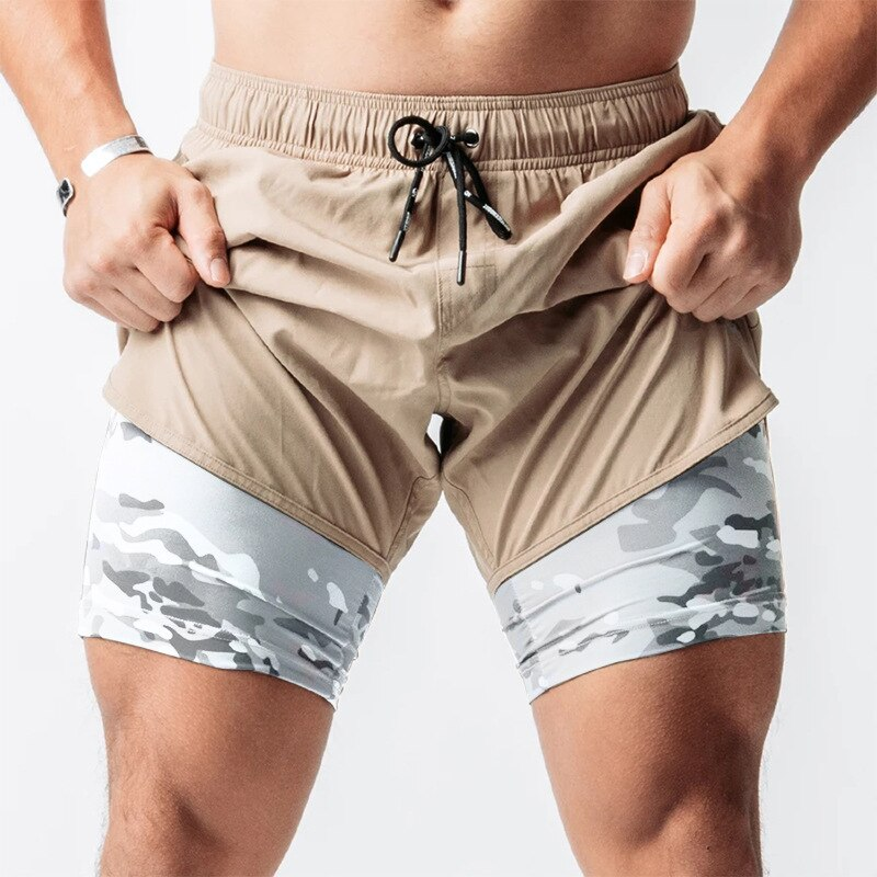 Camo 2-In-1 Fitness Shorts