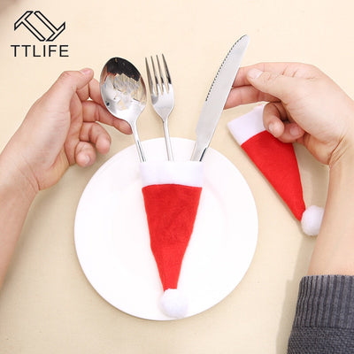Christmas Hat Cutlery Holders (10 PCS)