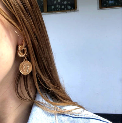 Bohemian Coin Knot Earrings