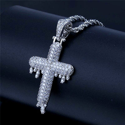 Drippy Cross Pendant Necklace