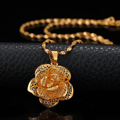 Golden Rose Pendant Necklace