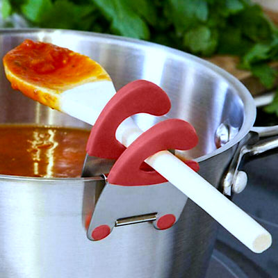 Stainless Steel Pot Spoon Clips (2 Pack)