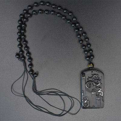 Helios Obsidian Dragon Necklace