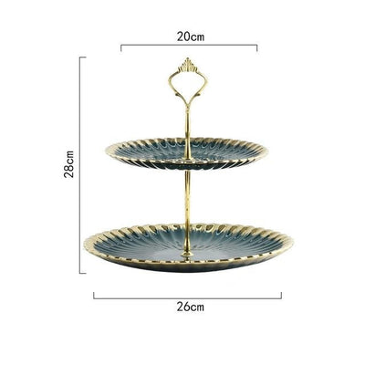 Gold Ceramic Double Snack Plate