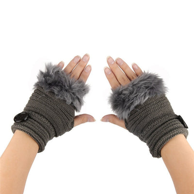 Alaska Fingerless Fur Gloves