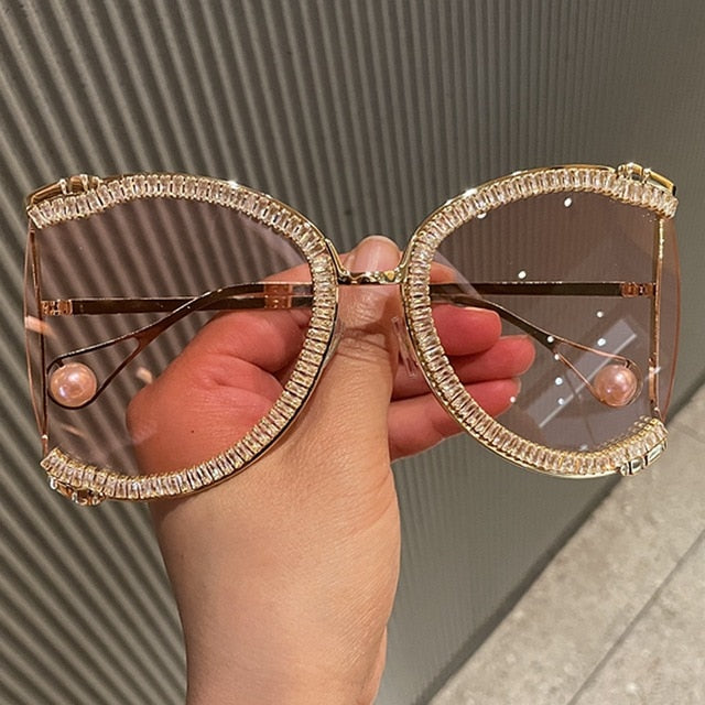 Amber Oversized Crystal Sunglasses