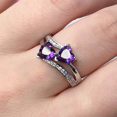 Amara Double Heart Ring