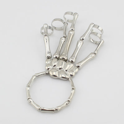 Metallic Skeleton Hand Bracelet