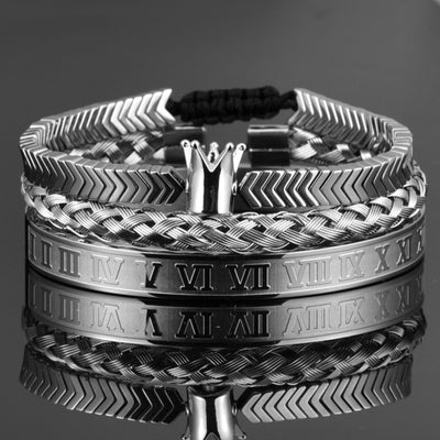 Royal Roman Steel Bracelet Set