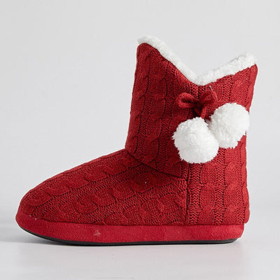 Pompom Knitted Plush Slippers