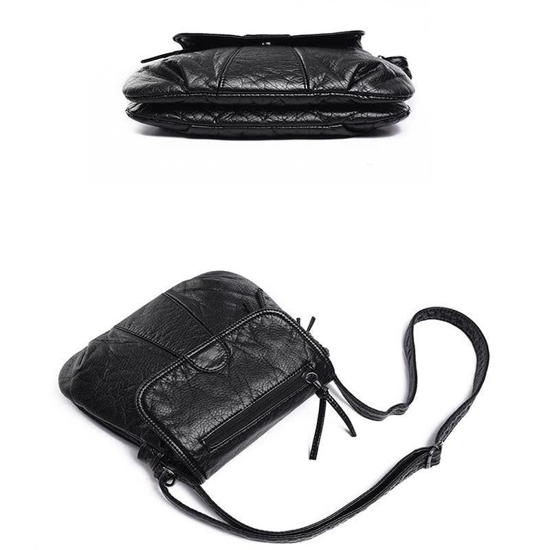 Women Multi Pocket Fashion Leather Crossbody Bag Retro Shoulder Bag-Obangbag