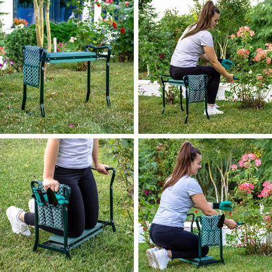 Garden Kneeler And Seat - Protects Your Knees, Clothes From Dirt & Grass Stains - Foldable Stool For Ease Of Storage