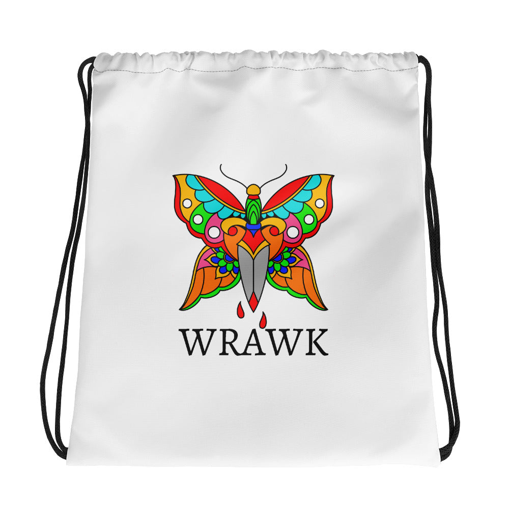 Bleeding Butterfly All-Over Print Drawstring Bag