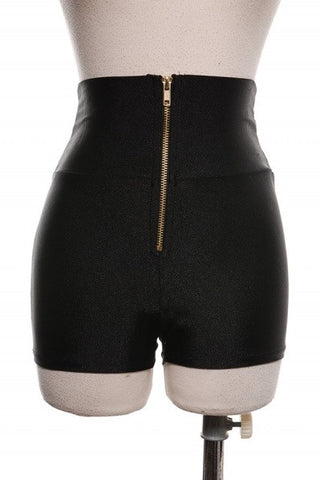 Hi-Waist Zip Front Shorts(More Colors)