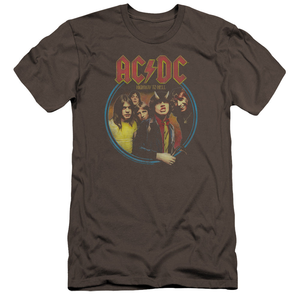 AC/DC Highway To Hell Premium Bella Canvas Slim Fit Mens T Shirt Charcoal