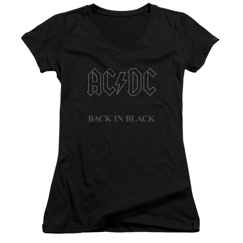 AC/DC Back In Black Junior Sheer Cap Sleeve V-Neck Womens T Shirt Black