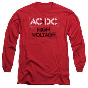 AC/DC High Voltage Stencil Mens Long Sleeve Shirt Red
